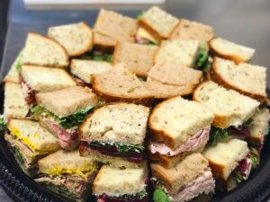 Platter of catered sandwiches